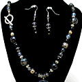 3545 Black Cracked Agate Necklace And Earring Set by Teresa Mucha