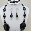 3548 Cracked Agate Necklace Bracelet And Earrings Set by Teresa Mucha