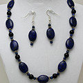 3555 Lapis Lazuli Necklace And Earring Set by Teresa Mucha