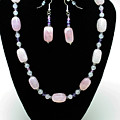 3560 Rose Quartz Necklace And Earrings Set by Teresa Mucha