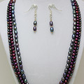 3562 Triple Strand Freshwater Pearl Necklace Set by Teresa Mucha