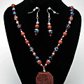 3578 Jasper And Agate Long Necklace And Earrings Set by Teresa Mucha