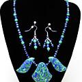 3582 Lapis Lazuli Malachite Necklace And Earring Set by Teresa Mucha