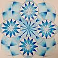 4 Blue Flowers Mandala by Andrea Thompson
