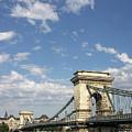 Chain Bridge On Danube River Budapest by Goce Risteski