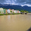 City Of Innsbruck Colorful Inn River Waterfront Panorama by Brch Photography
