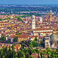 City Of Verona Old Center And Adige River Aerial Panoramic View by Brch Photography
