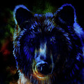 head of mighty brown bear, oil painting on canvas and graphic collage. Eye contact. by Jozef Klopacka