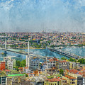 Istanbul Turkey Cityscape Digital Watercolor On Photograph by Brandon Bourdages