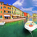 Lazise Colorful Harbor And Boats Panoramic View by Brch Photography