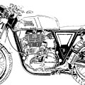 Motorcycle Art, Black And White by Drawspots Illustrations