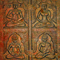 4 Panels Buddhas Wall Carving With Antique Filter by Fred Bertheas