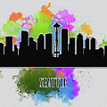 Seattle Skyline Silhouette by Anna Maloverjan
