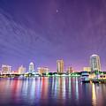 St Petersburg Florida City Skyline And Waterfront At Night by Alex Grichenko
