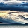 Sunset In Alaskan Fjords In Mud Bay Near Sjagway by Alex Grichenko