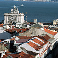 View Of Lisbon Harbor And Clock Tower by Carl Purcell