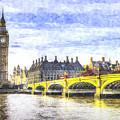 Westminster Bridge And Big Ben Art by David Pyatt