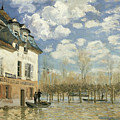 Boat In The Flood At Port Marly by Alfred Sisley