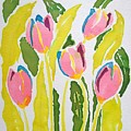 5 Pink Tulips Watercolor  by Delynn Addams