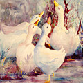 5 White Geese by Connie Williams