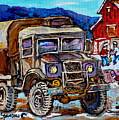 50's Dodge Truck Red Wood Barn Outdoor Hockey Rink  Art Canadian Winter Landscape Painting C Spandau by Carole Spandau