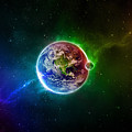 56996 3d Space Scene Colorful Digital Art Earth by Rose Lynn