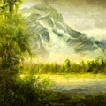 Landscape Nature Drawing by World Map