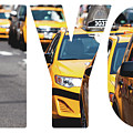 Yellow Cab Speeds Through Times Square In New York, Ny, Usa.  by Mariusz Prusaczyk