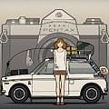 Honda N600 Rally Kei Car With Japanese 60's Asahi Pentax Commercial Girl by Monkey Crisis On Mars