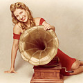 60s Pin Up Girl With Vintage Record Phonograph by Jorgo Photography - Wall Art Gallery