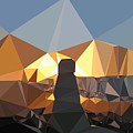 Abstract Art Landscape Of Triangles by Elena Kosvincheva