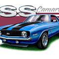 69 Camaro Ss In Blue by David Kyte