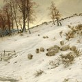 A Flock Of Sheep In A Snowstorm by Joseph Farquharson