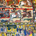 Ancient Orthodox Church Interior Painted Walls In Gondar Ethiopi by Jacek Malipan