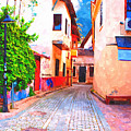 A Digitally Constructed Painting Of Cobbled Back Streets Of Kaleici In Antalya Turkey by Ken Biggs