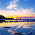 Beach Skyset Sunset On A Perranporth Beach Cornwall by Sebastien Coell