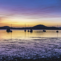 Dawn Waterscape Over The Bay With Boats by Merrillie Redden