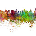 Bangkok Skyline In Watercolor Background by Pablo Romero