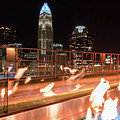 Charlotte North Carolina Skyline View At Night From Roof Top Res by Alex Grichenko