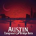 Austin's Congress Bridge Bats Illustration Art Prints by Dan Herron Studio