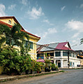 Old French Colonial Architecture In Kampot Town Street Cambodia by Jacek Malipan