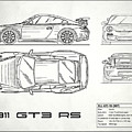 911 Gt3 Rs Blueprint - White by Mark Rogan