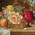 A Basket Of Flowers And A Butterfly Hans Zatzka by Eloisa Mannion