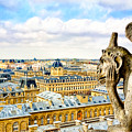 A Bored Gargoyle Sees Paris by Mark E Tisdale