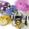 A Bunch Of Colorful Fish No 01 by Maria Astedt