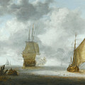 A Calm Sea With A Man Of War And A Fishing Boat by Julius Porcellis