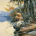 A Camp Site By The Lake by Charles Marion Russell