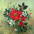 A Christmas Arrangement With Holly Mistletoe And Other Winter Flowers by Albert Williams