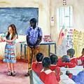 A Classroom In Africa by Carlin Blahnik CarlinArtWatercolor