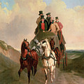 A Coach And Four On An Open Road  by William Snr Shayer